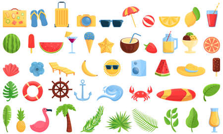 Summer party icons set, cartoon style
