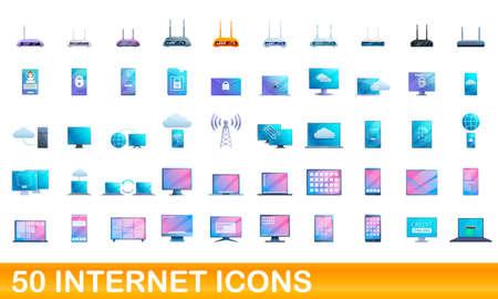 50 Internet icons set, cartoon style
