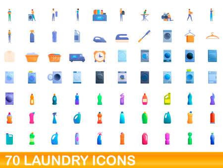 70 laundry icons set, cartoon style