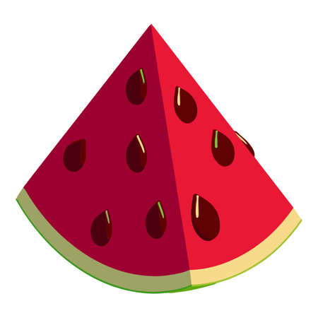 Piece watermelon icon, isometric style