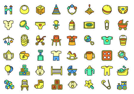 Baby items icons set, outline style