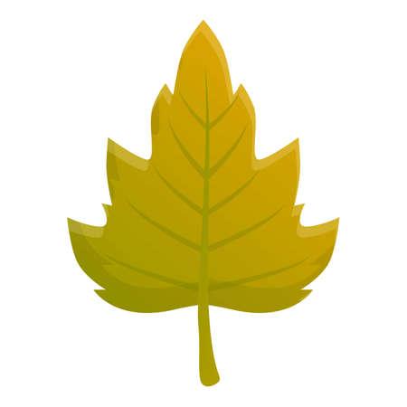 Viburnum autumn green leaf icon, cartoon style