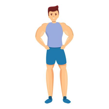 Bodybuilder gym boy icon, cartoon style