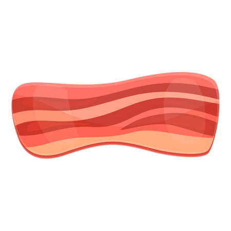 Bacon raw icon, cartoon style