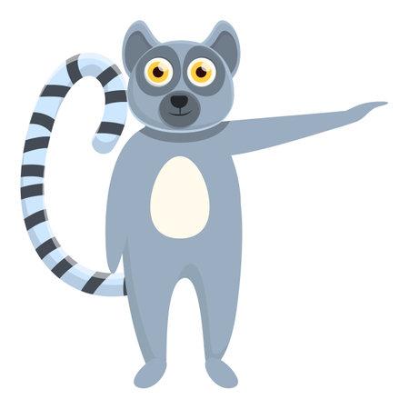 Lemur forest icon, cartoon style