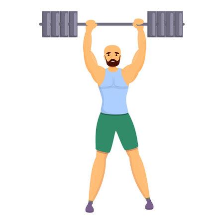 Bodybuilder champion icon, cartoon style