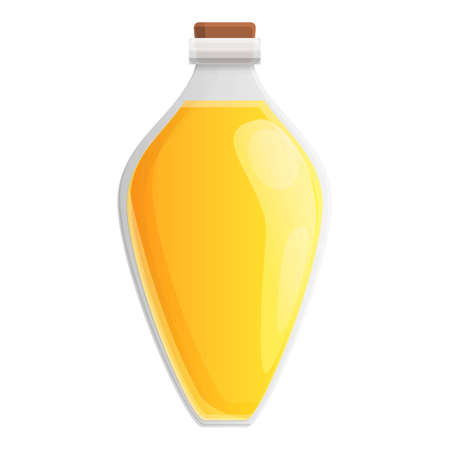 Canola oil glass potion icon, cartoon style