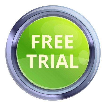 Free trial circle button icon, cartoon style