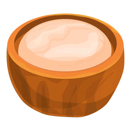 Cutted shea tree nut icon, cartoon style