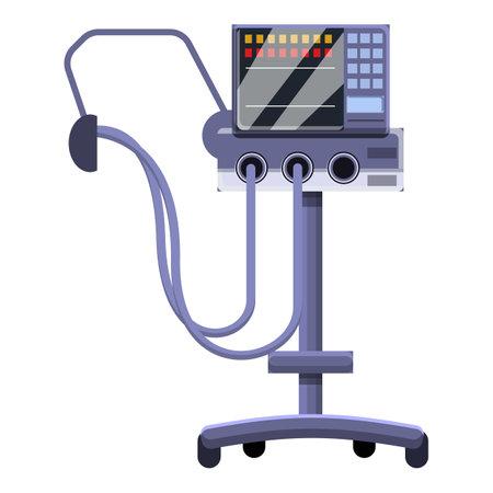 Equipment ventilator medical machine icon, cartoon style