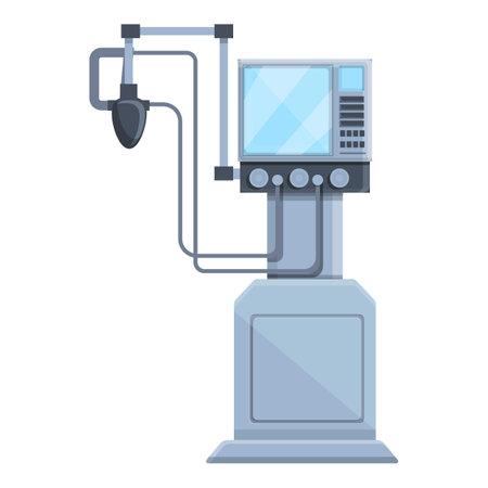 Patient ventilator medical machine icon, cartoon style