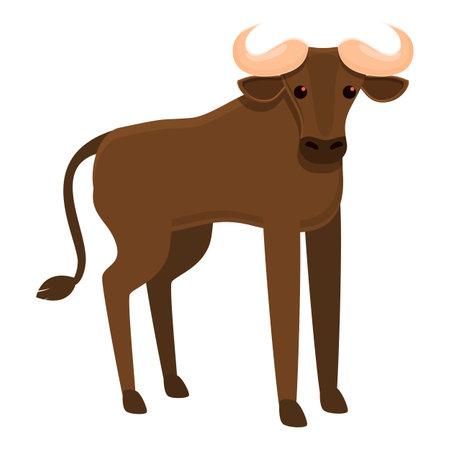 Safari wildebeest icon, cartoon style