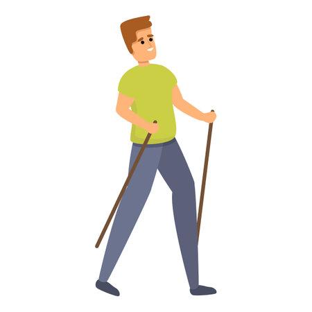 Nordic walking icon, cartoon style