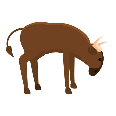 African wildebeest icon, cartoon style