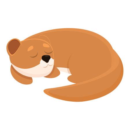 Sleeping mink icon, cartoon style Ilustração