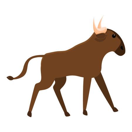 Mammal wildebeest icon, cartoon style Ilustração