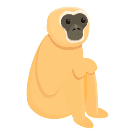 Gibbon sad icon, cartoon style 向量圖像