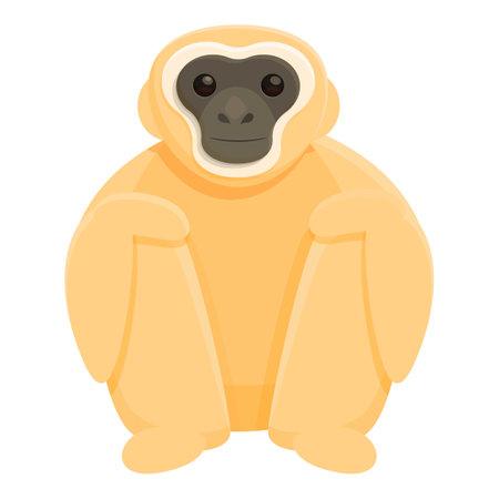 Gibbon zoo icon, cartoon style Illustration