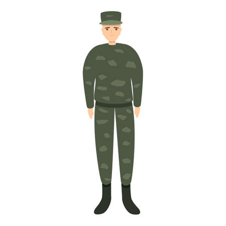 Army military uniform icon, cartoon style