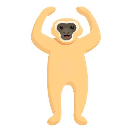 Gibbon happy icon, cartoon style 向量圖像
