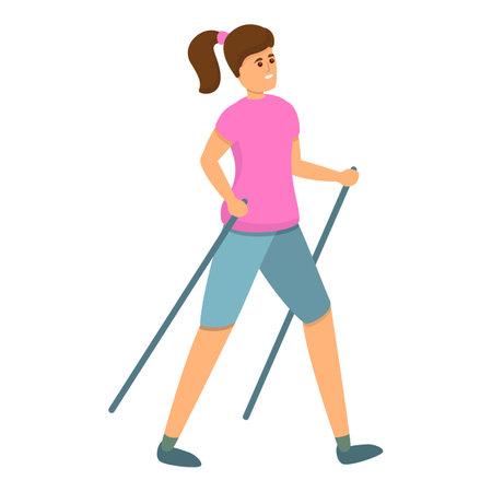 Woman nordic walking icon, cartoon style Vetores