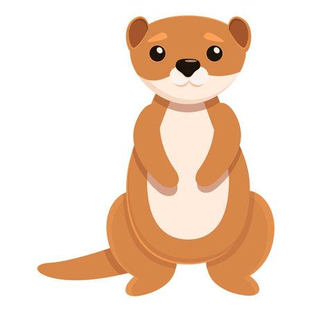 River mink icon, cartoon style