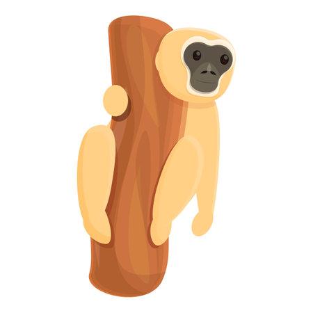 Gibbon catch tree icon, cartoon style Illustration