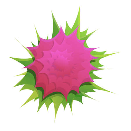 Top view flower icon, cartoon style