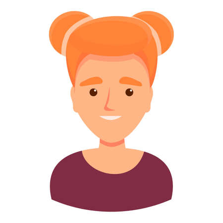 Girl with red hair icon, cartoon style