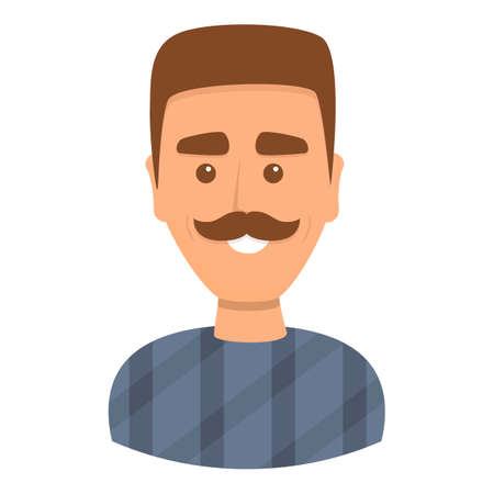 Man with mustache icon, cartoon style