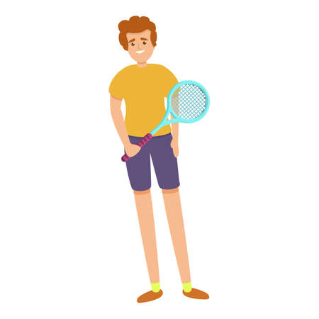 Boy with a tennis racket icon, cartoon style