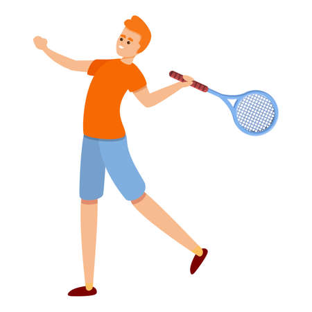 Development of tennis icon, cartoon style