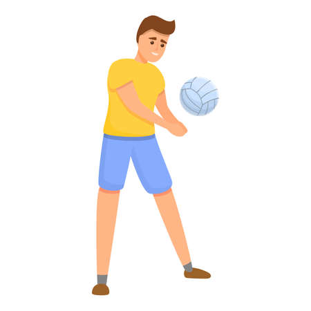Volleyball pitch icon, cartoon style Vettoriali