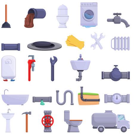 Sewerage icons set, cartoon style