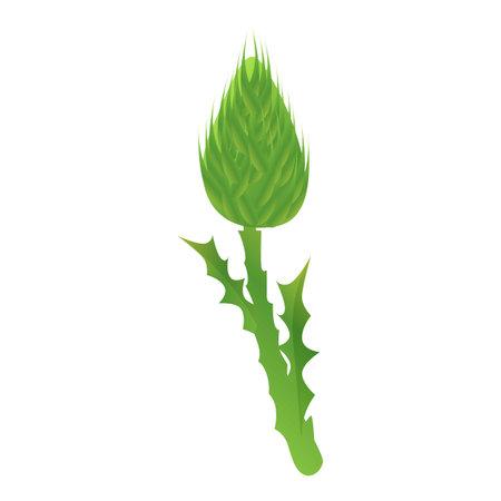 Thistle scotland plant icon, cartoon style