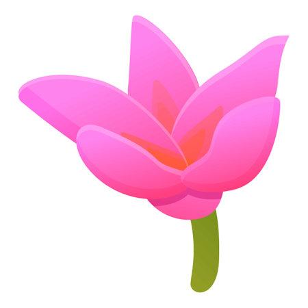 Plumeria frangipani icon, cartoon style