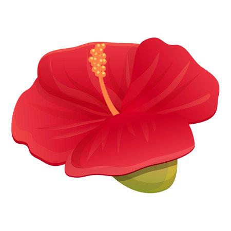 Carmine hibiscus icon, cartoon style