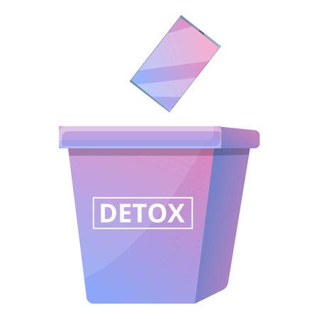 Digital detoxing box icon, cartoon style