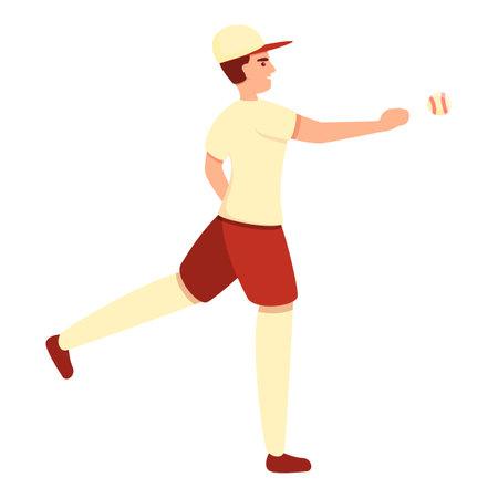 Boy baseball player icon, cartoon style