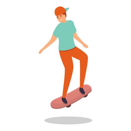 Kid skateboarding icon, cartoon style