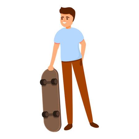 Smiling boy skateboarding icon, cartoon style