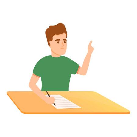 Add school test icon, cartoon style