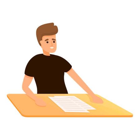 School test read icon, cartoon style Ilustrace