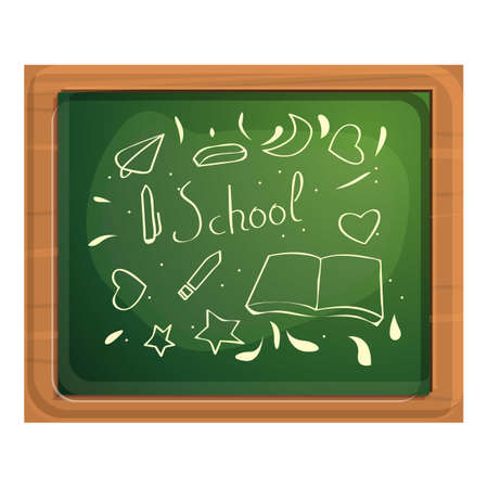 Drawing pictures chalkboard icon, cartoon style