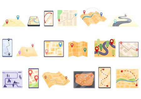 Itinerary icons set, cartoon style