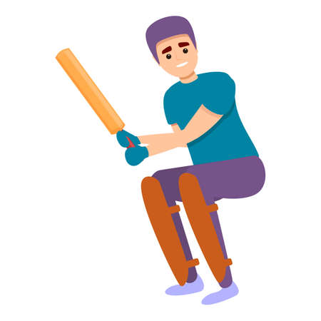 Cricket kid equipment icon, cartoon style