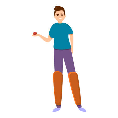 Cricket active game icon, cartoon style