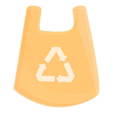 Biodegradable plastic waste bag icon, cartoon style
