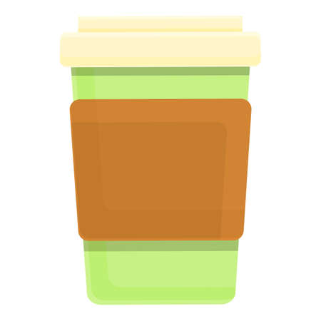 Biodegradable plastic coffee cup icon, cartoon style