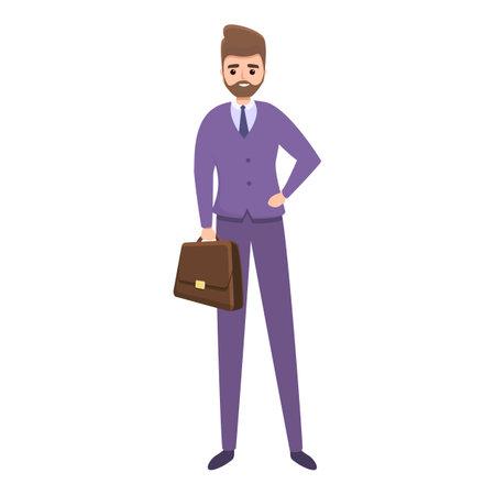 Businessman agent briefcase icon, cartoon style